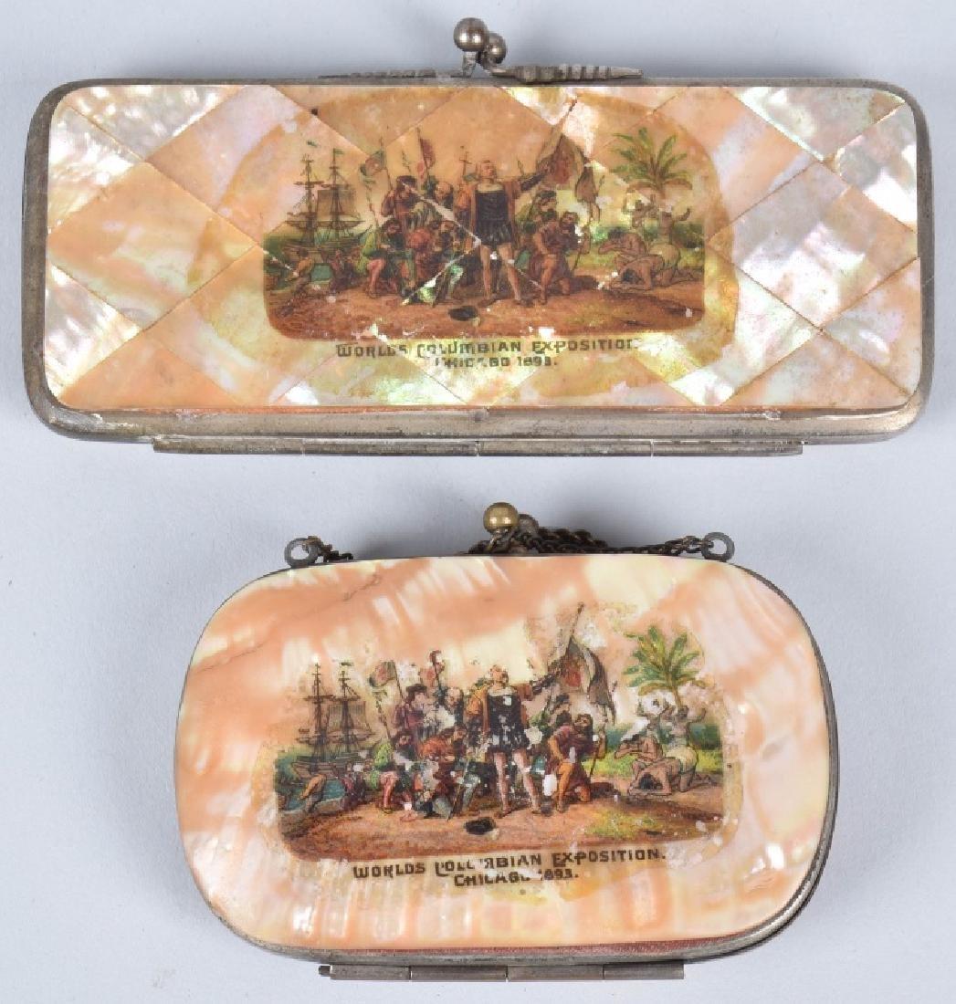 6- 1893 COLUMBIAN EXPO SOUVENIR SHELL COIN PURSES - 3