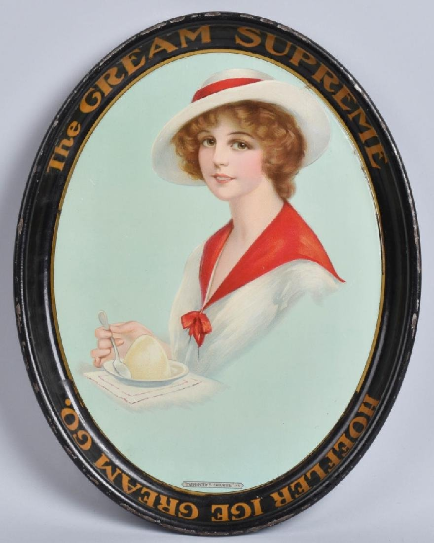 EARLY TIN HOEFLER ICE CREAM ADVERTISING TRAY