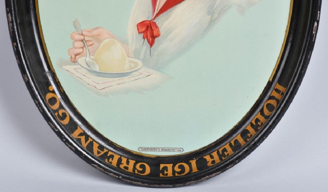 EARLY TIN HOEFLER ICE CREAM ADVERTISING TRAY - 3
