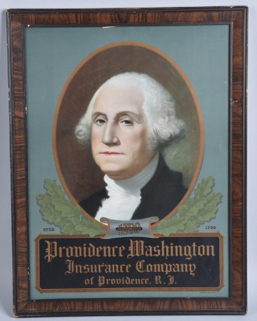 PROVIDENCE WASHINGTON INSURANCE TIN FRAMED SIGN