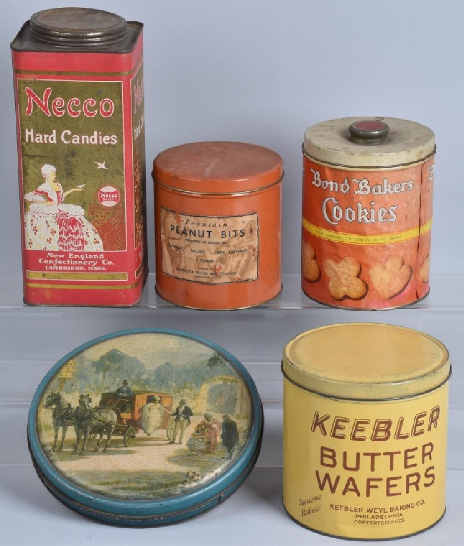 5-VINTAGE CANDY and COOKIE TINS