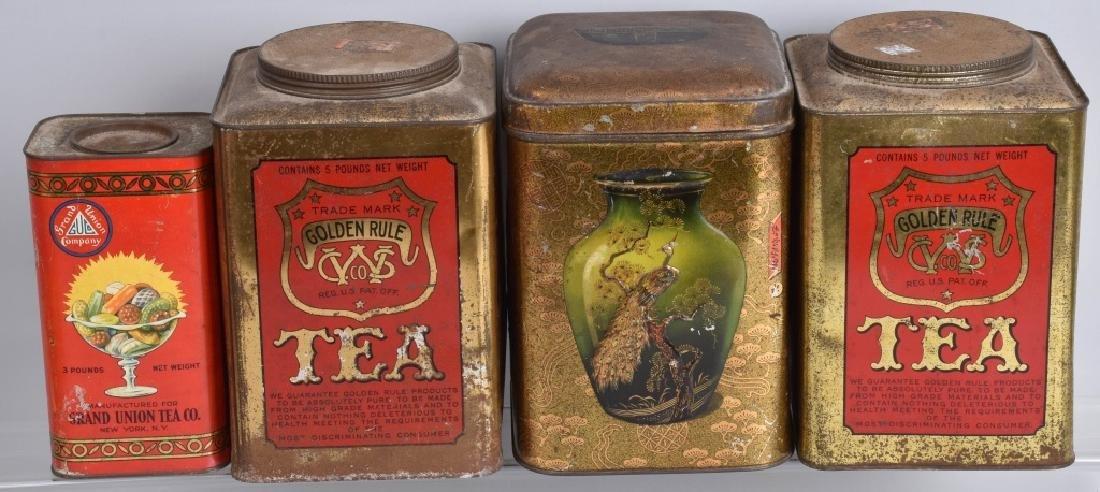 4-VINTAGE TEA ADVERTISING TINS