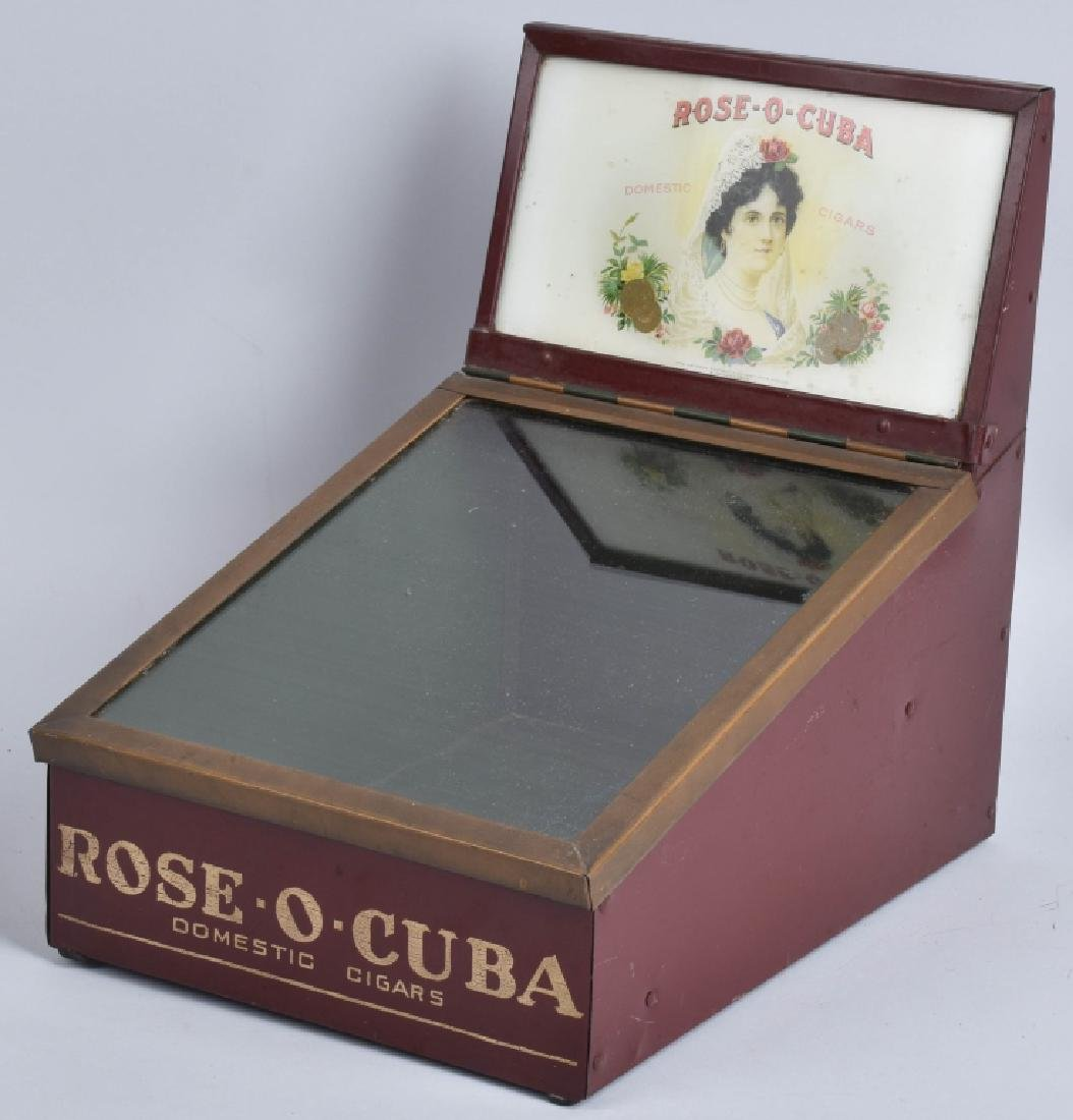 VINATGE ROSE-O-CUBA CIGAR TIN COUNTER DISPLAY