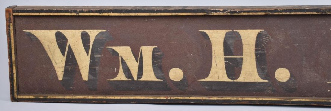 EARLY WOOD WM. H. HUNT TRADE SIGN - 2
