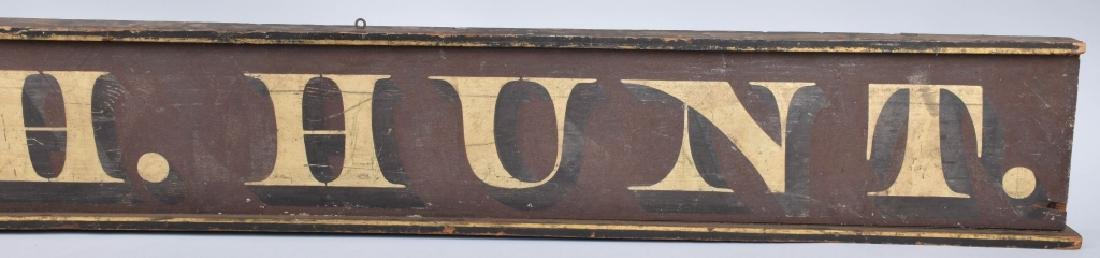 EARLY WOOD WM. H. HUNT TRADE SIGN - 3