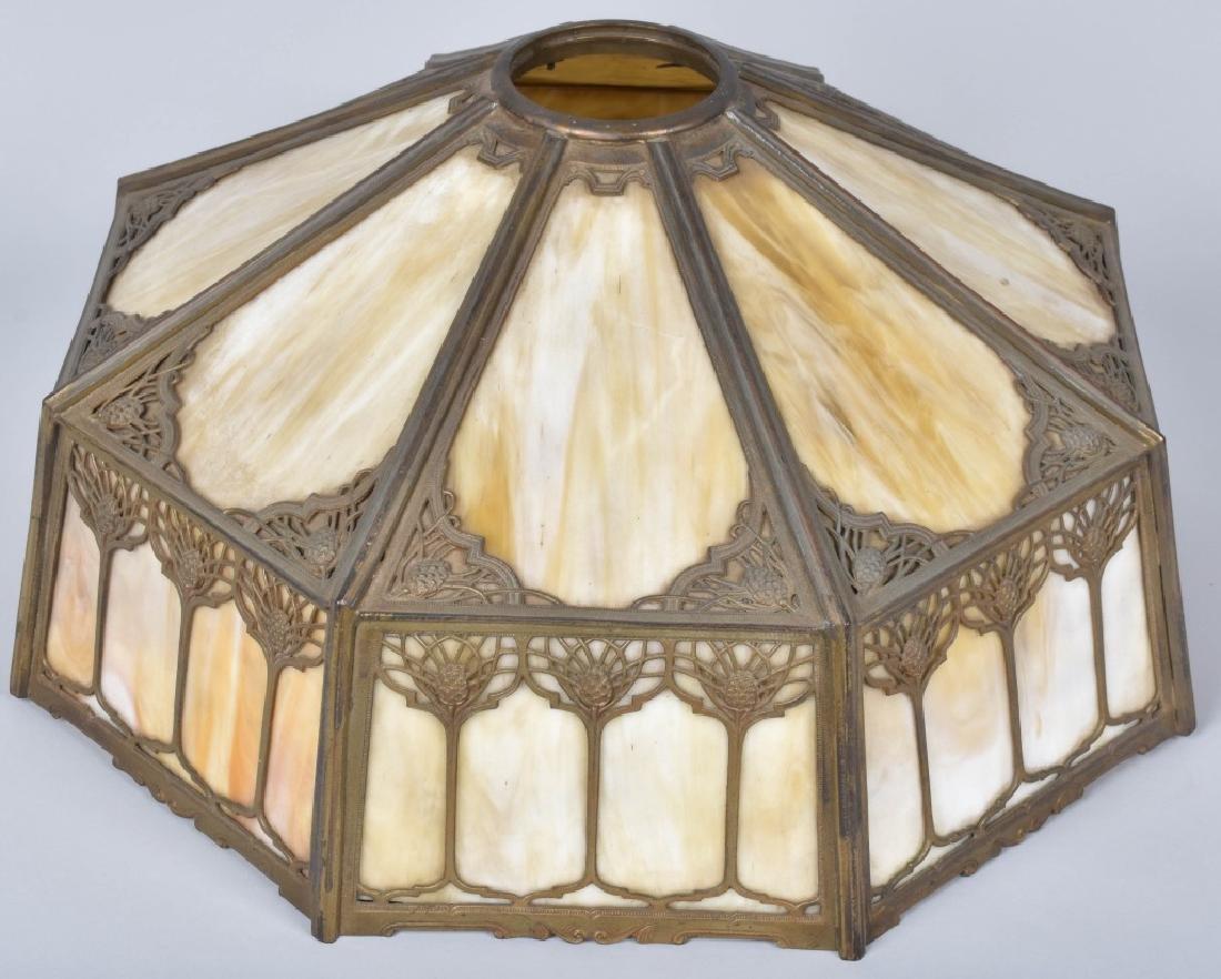 ANTIQUE SLAG GLASS LAMP - 5
