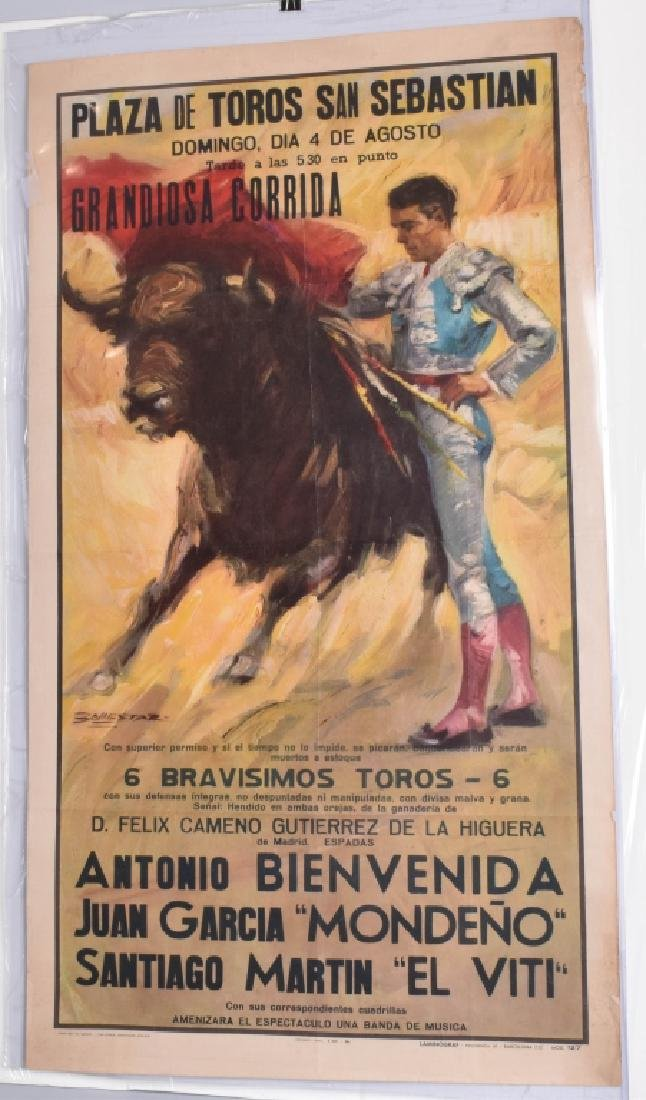 VINTAGE SPANISH BULL FIGHT POSTER