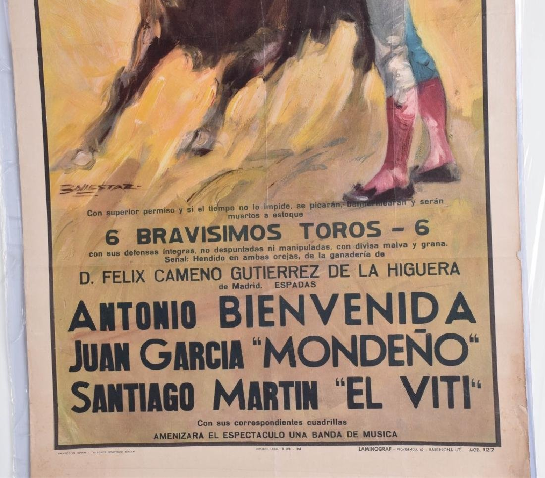 VINTAGE SPANISH BULL FIGHT POSTER - 3