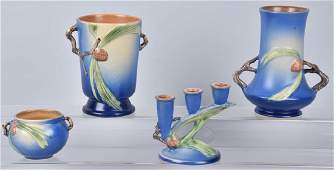 4ROSEVILLE BLUE PINE CONE POTTERY GROUP