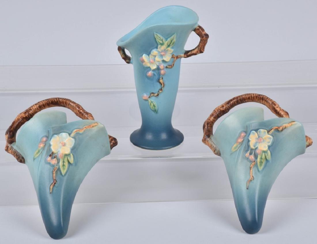 3-ROSEVILLE BLUE APPLE BLOSSOM POTTERY GROUP