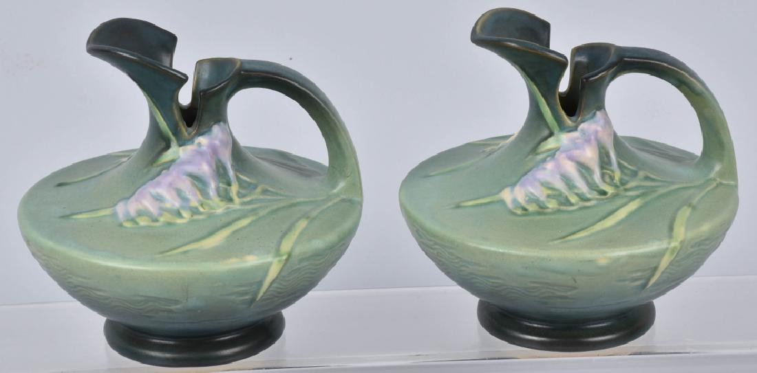 2-ROSEVILLE GREEN FREESIA POTTERY EWERS