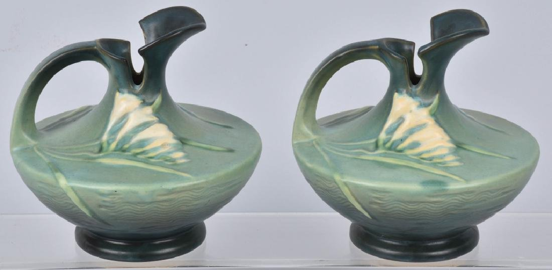 2-ROSEVILLE GREEN FREESIA POTTERY EWERS - 2