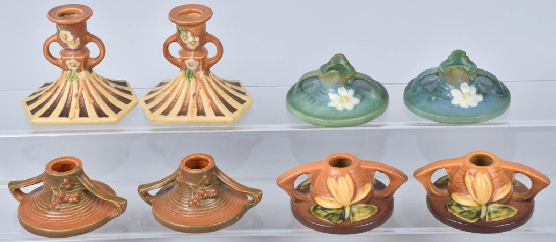 4 PAIRS-ROSEVILLE POTTERY CANDLESTICKS