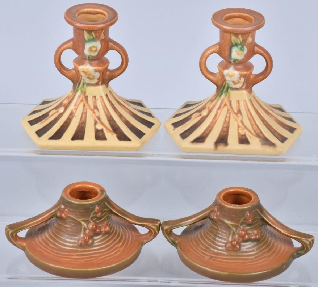 4 PAIRS-ROSEVILLE POTTERY CANDLESTICKS - 4