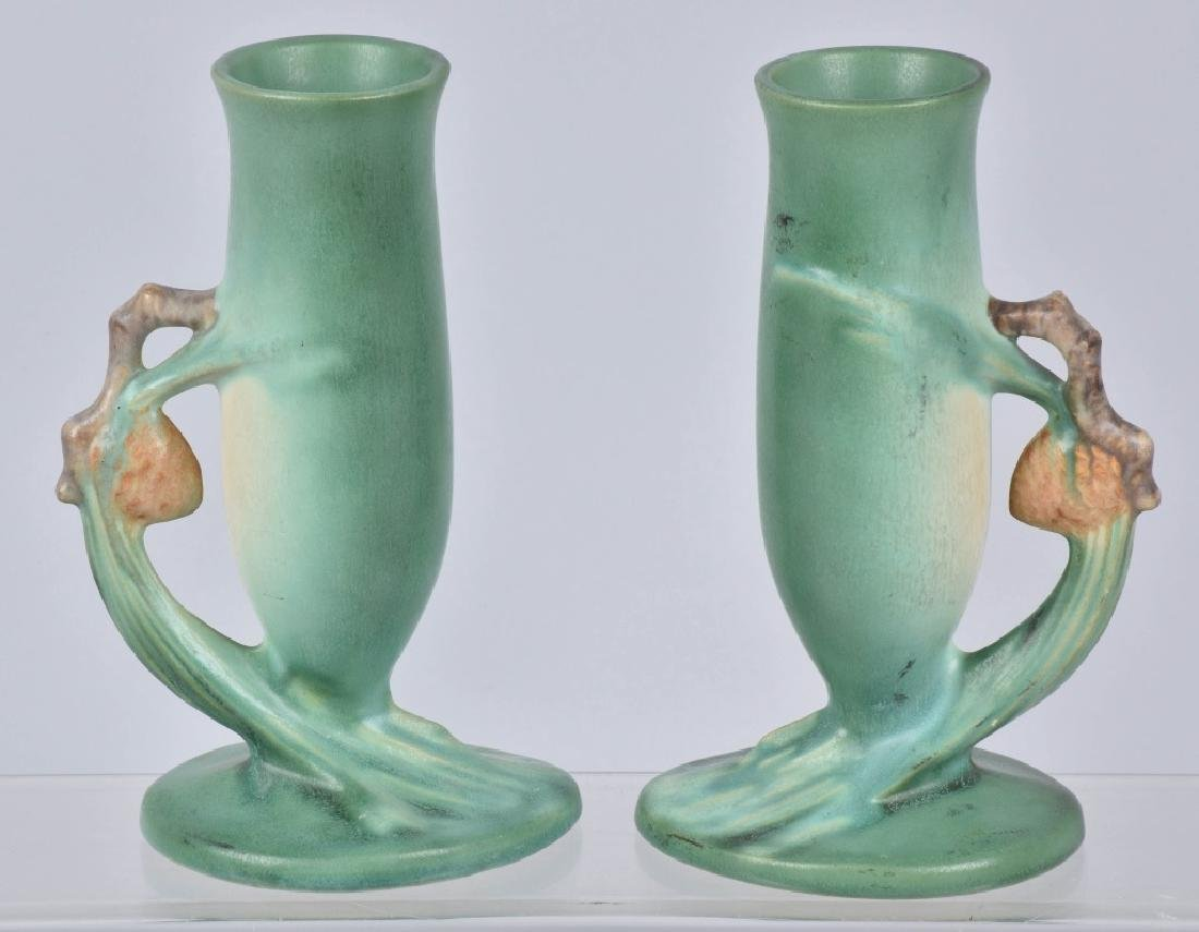 2-ROSEVILLE GREEN PINE CONE POTTERY VASES