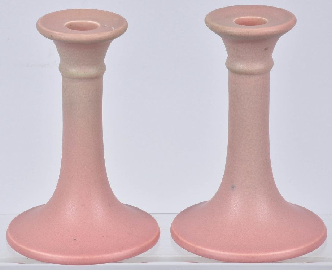 ROOKWOOD POTTERY PINK CANDLESTICKS, No. 822D