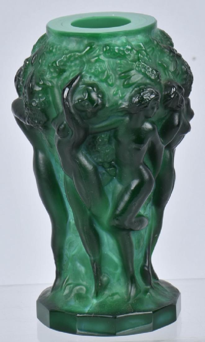 ART NOUVEAU GREEN MALACHITE VASE w/ NUDES