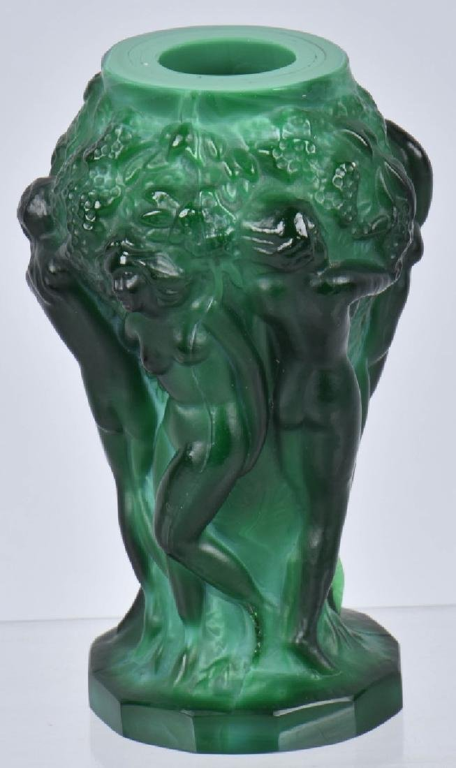 ART NOUVEAU GREEN MALACHITE VASE w/ NUDES - 3
