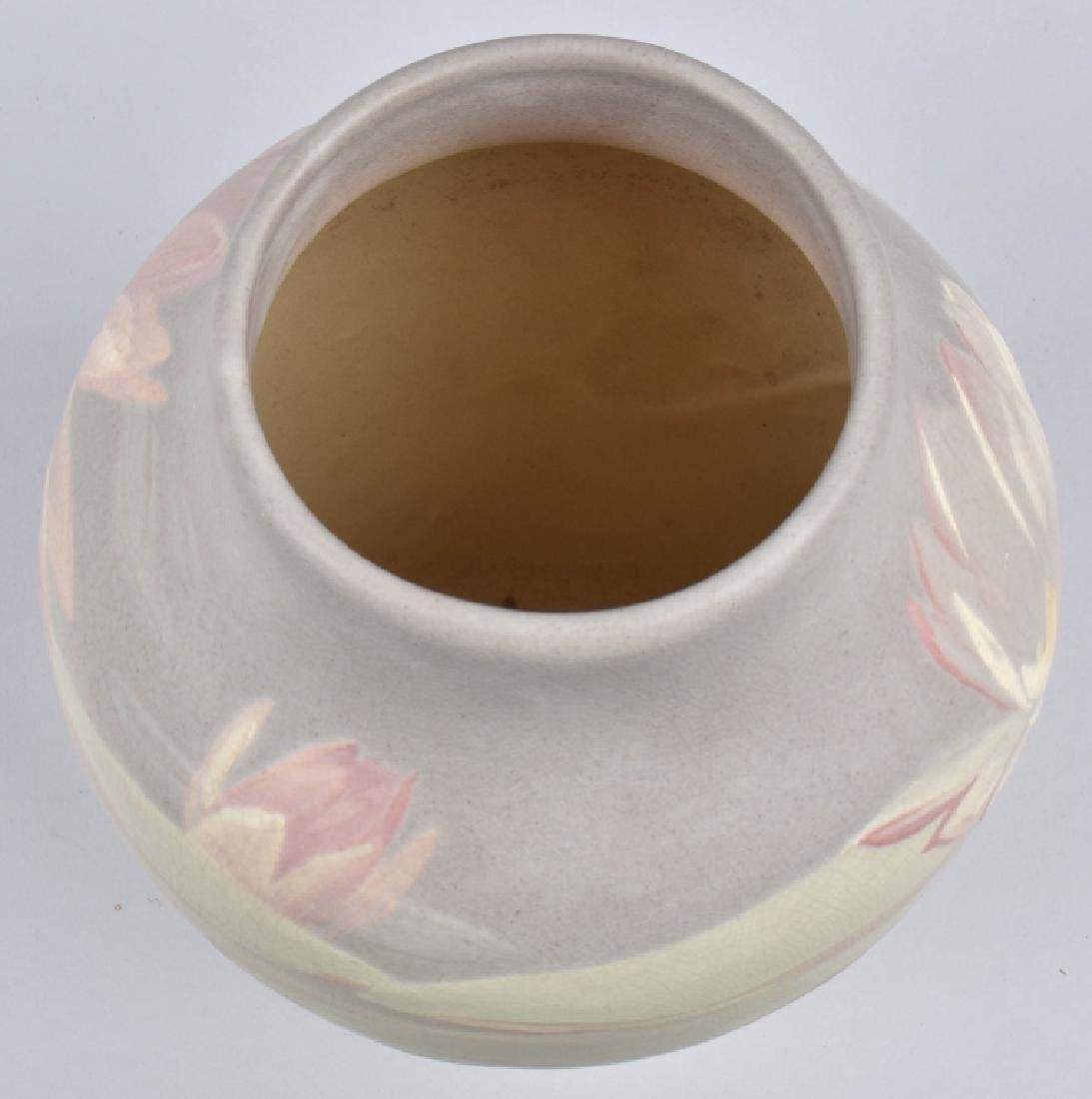 WELLER HUDSON POTTERY VASE with LILIES - 5