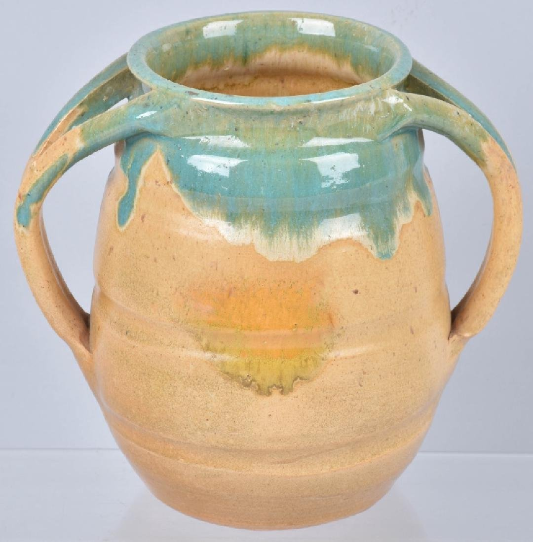 NORTH STATE GREEN / TAN POTTERY VASE