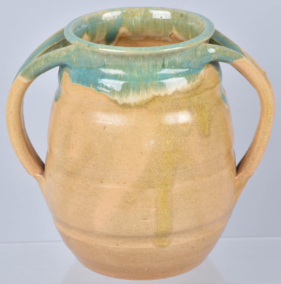 NORTH STATE GREEN / TAN POTTERY VASE - 2