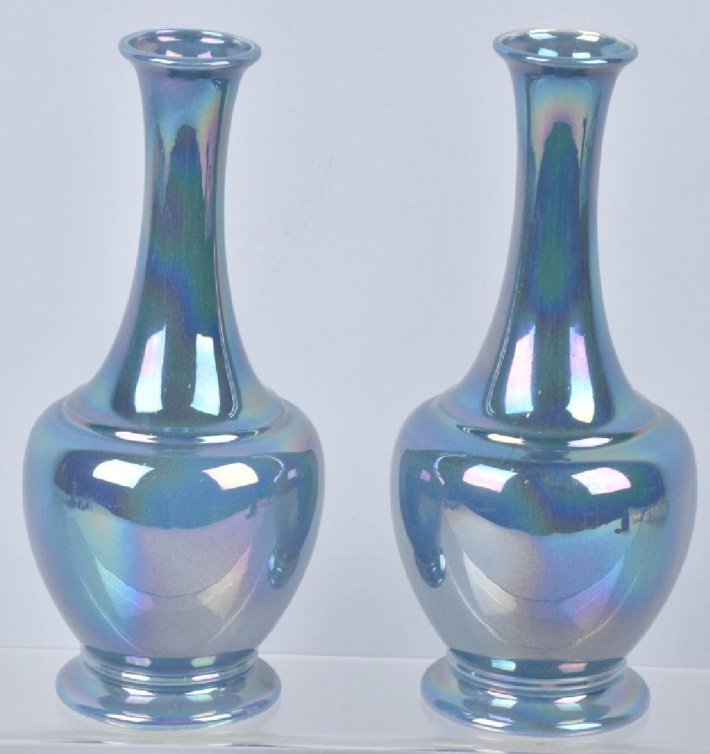 2-COWAN IRIDESCENT BLUE VASES
