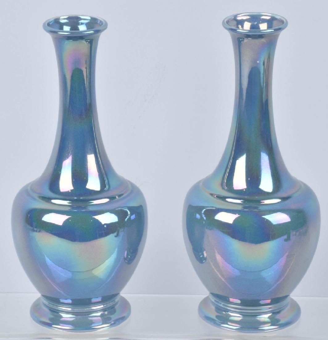 2-COWAN IRIDESCENT BLUE VASES - 2