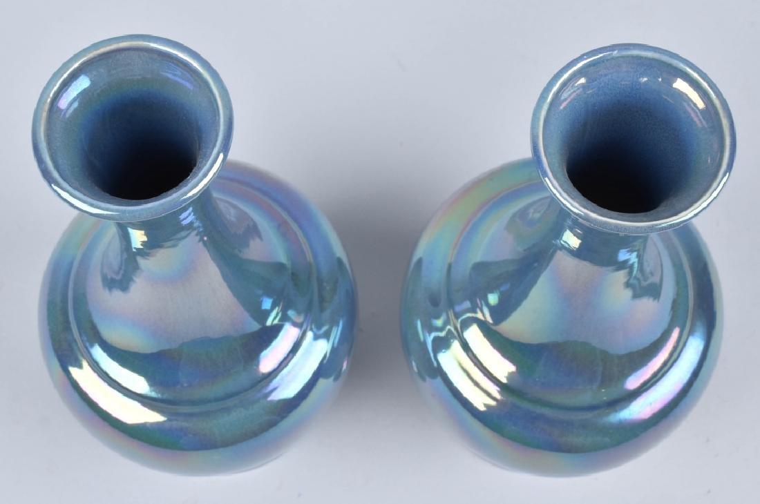 2-COWAN IRIDESCENT BLUE VASES - 3