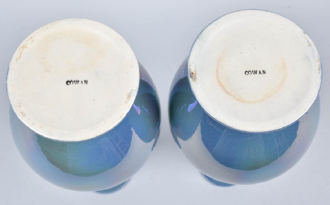 2-COWAN IRIDESCENT BLUE VASES - 4