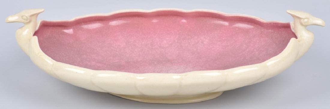 COWAN POTTERY PINK / TAN SERVING DISH
