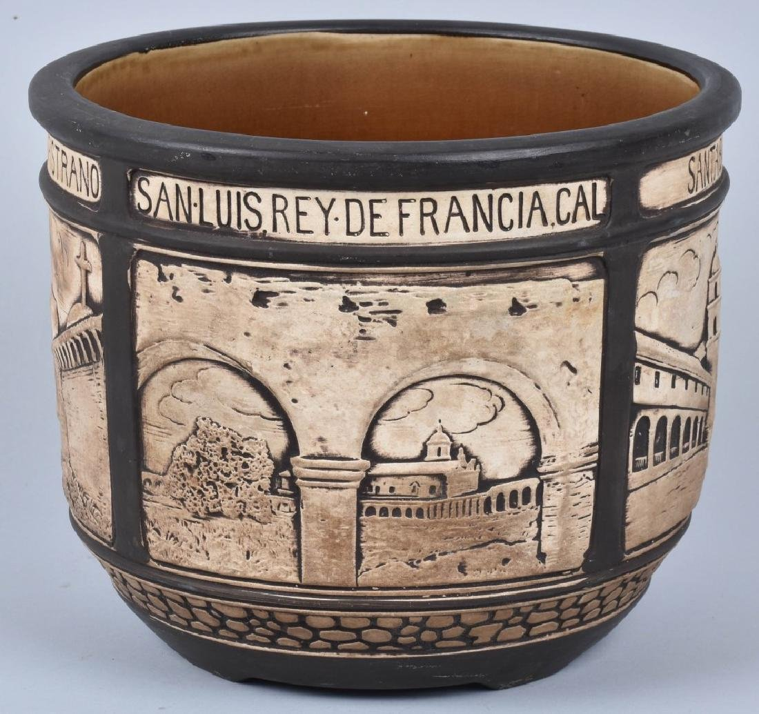1920's CALIFORNIA POTTERY PLANTER w/ CITIES - 4