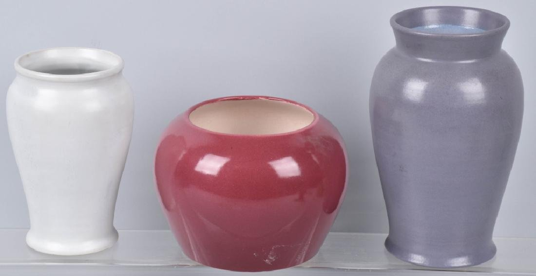 3-VINTAGE POTTERY VASES, RED WING & MORE