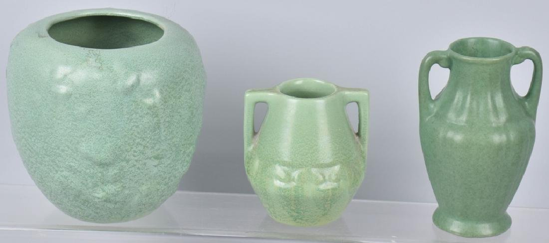 3-ARTS & CRAFTS STYLE MATTE GREEN POTTERY GROUP