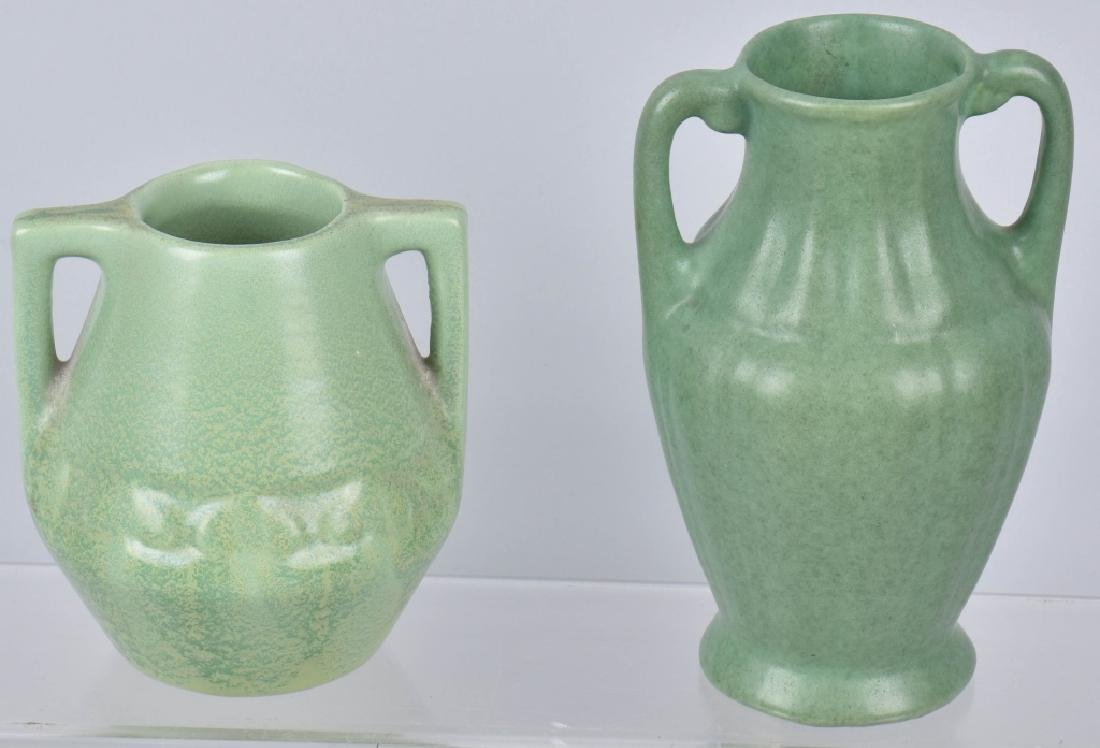 3-ARTS & CRAFTS STYLE MATTE GREEN POTTERY GROUP - 4