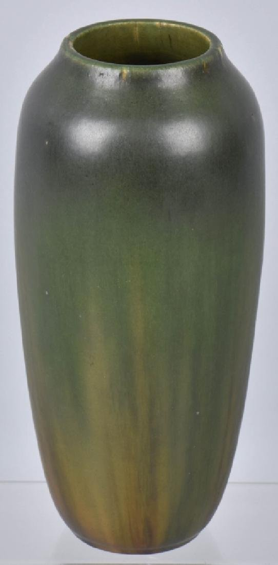 VINTAGE HEAVY GREEN POTTERY VASE, MAKER MARKED