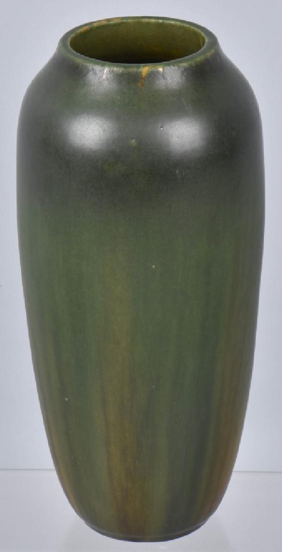 VINTAGE HEAVY GREEN POTTERY VASE, MAKER MARKED - 2