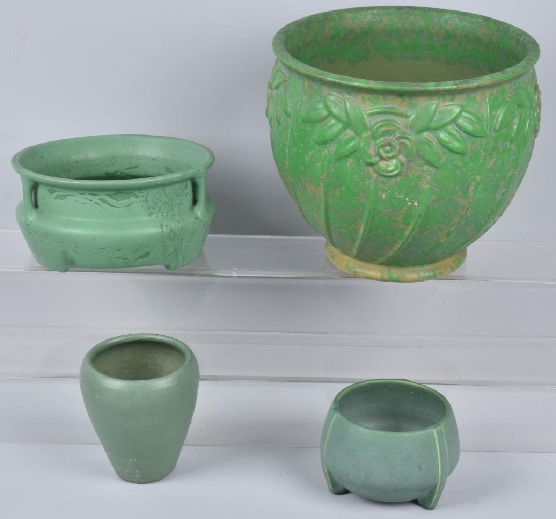 4-ARTS & CRAFTS STYLE GREEN POTTERY GROUP
