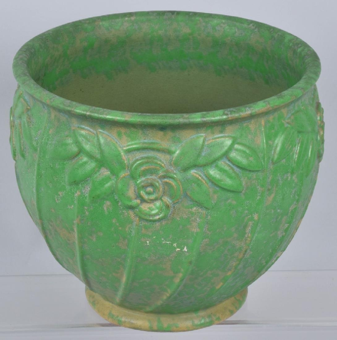 4-ARTS & CRAFTS STYLE GREEN POTTERY GROUP - 4
