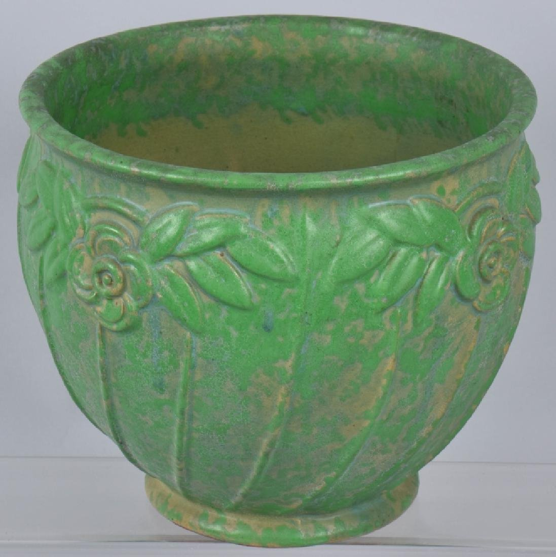 4-ARTS & CRAFTS STYLE GREEN POTTERY GROUP - 5
