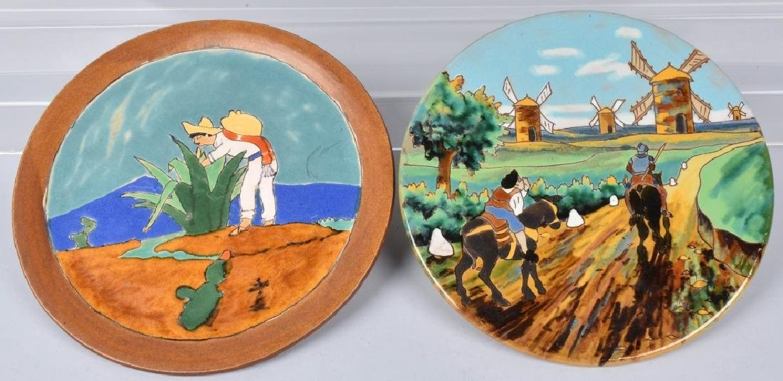 2-LARGE SPANISH PLATES, DON QUIXOTE & MORE