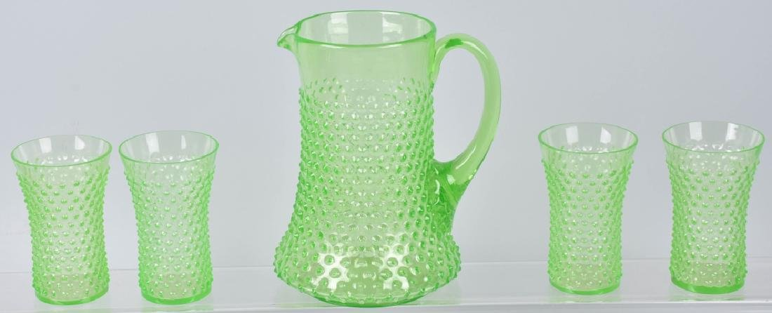 GREEN HOBNAIL WATER PITCHER and 4 GLASSES