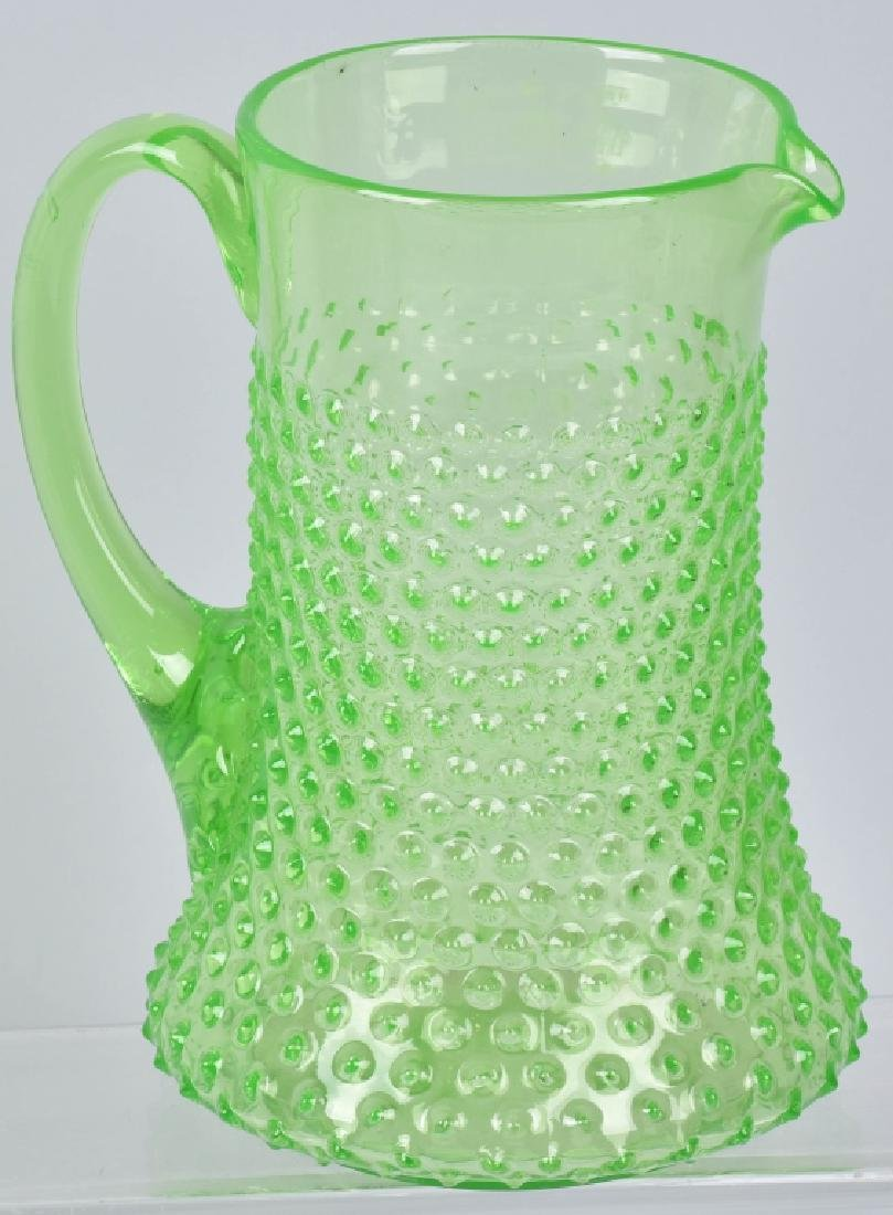 GREEN HOBNAIL WATER PITCHER and 4 GLASSES - 2