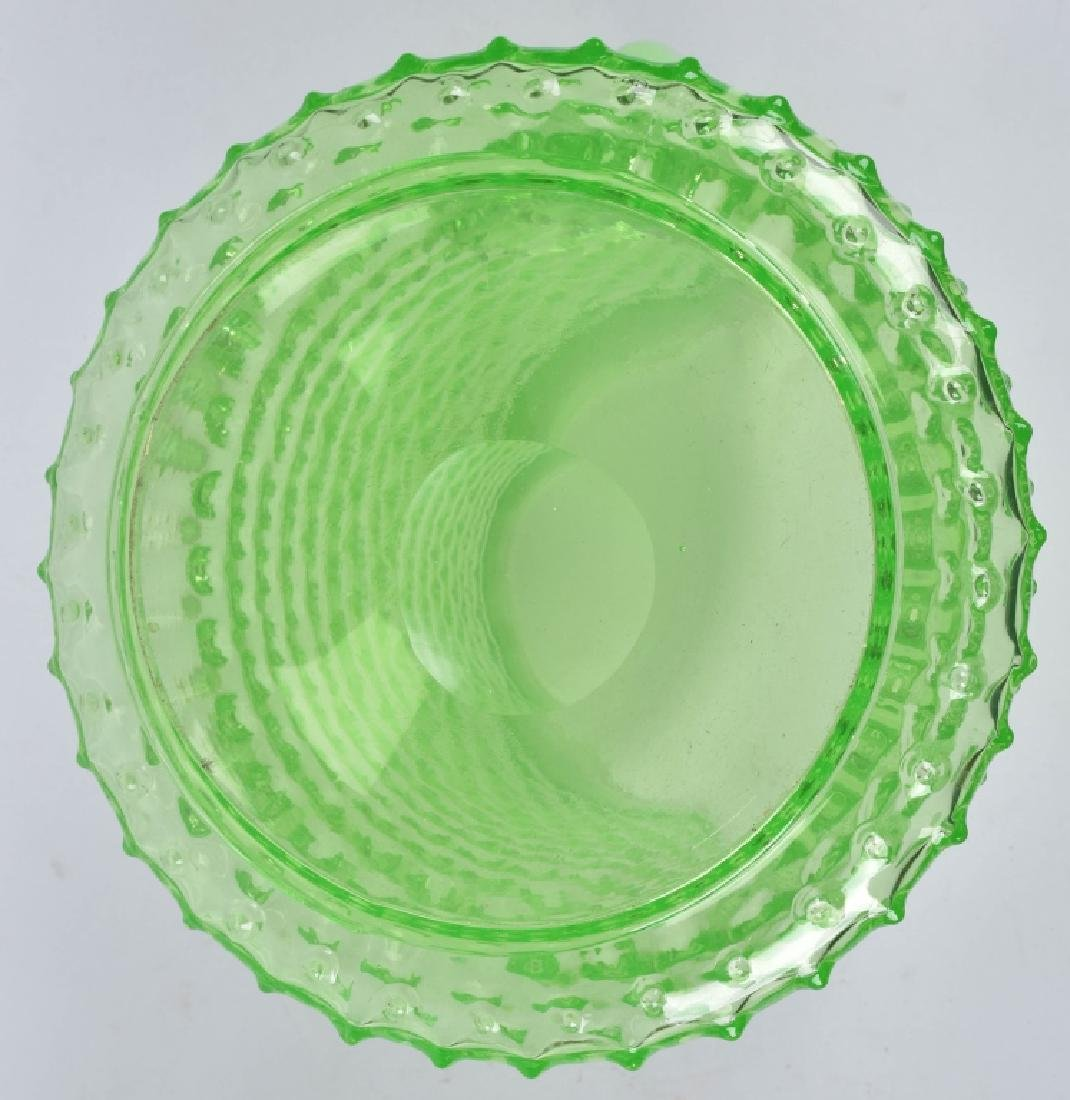 GREEN HOBNAIL WATER PITCHER and 4 GLASSES - 3