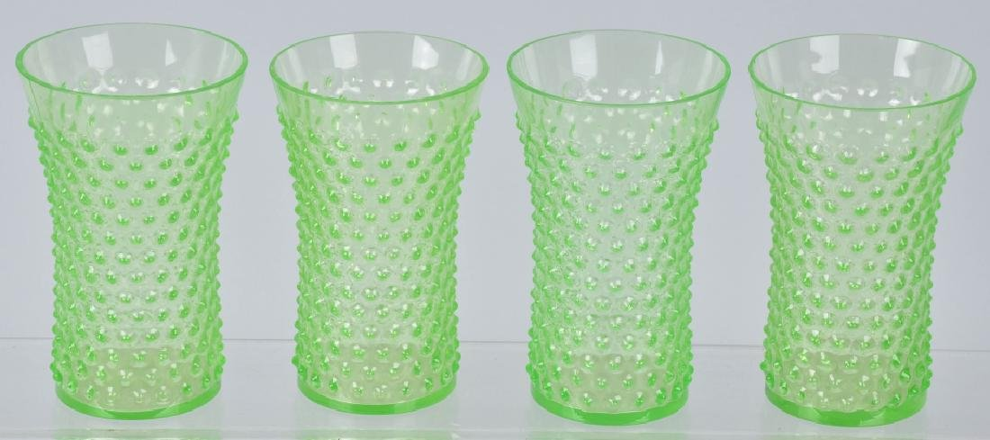 GREEN HOBNAIL WATER PITCHER and 4 GLASSES - 4