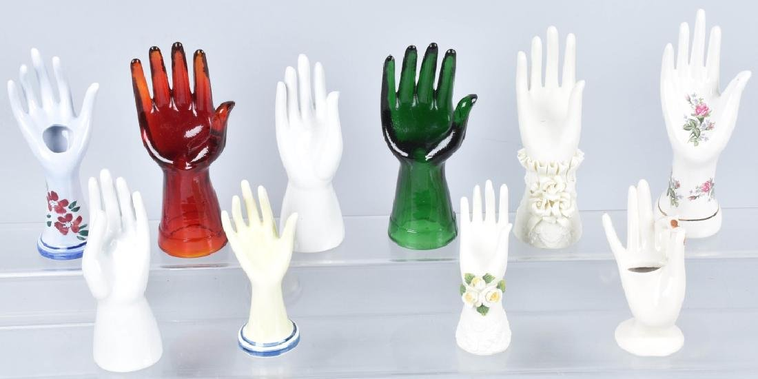 10- VINTAGE CERAMIC & GLASS HAND JEWELRY HOLDERS