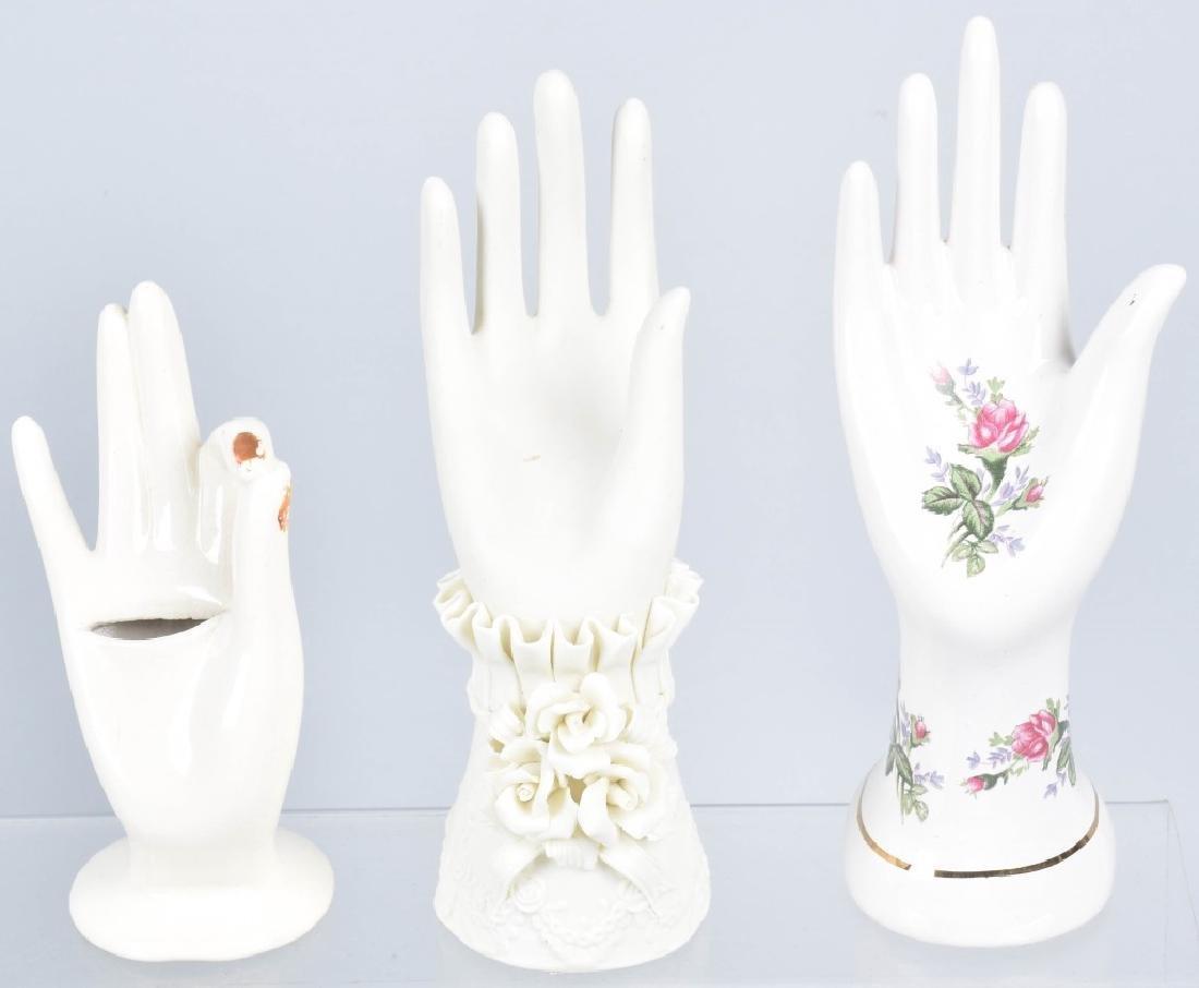 10- VINTAGE CERAMIC & GLASS HAND JEWELRY HOLDERS - 2