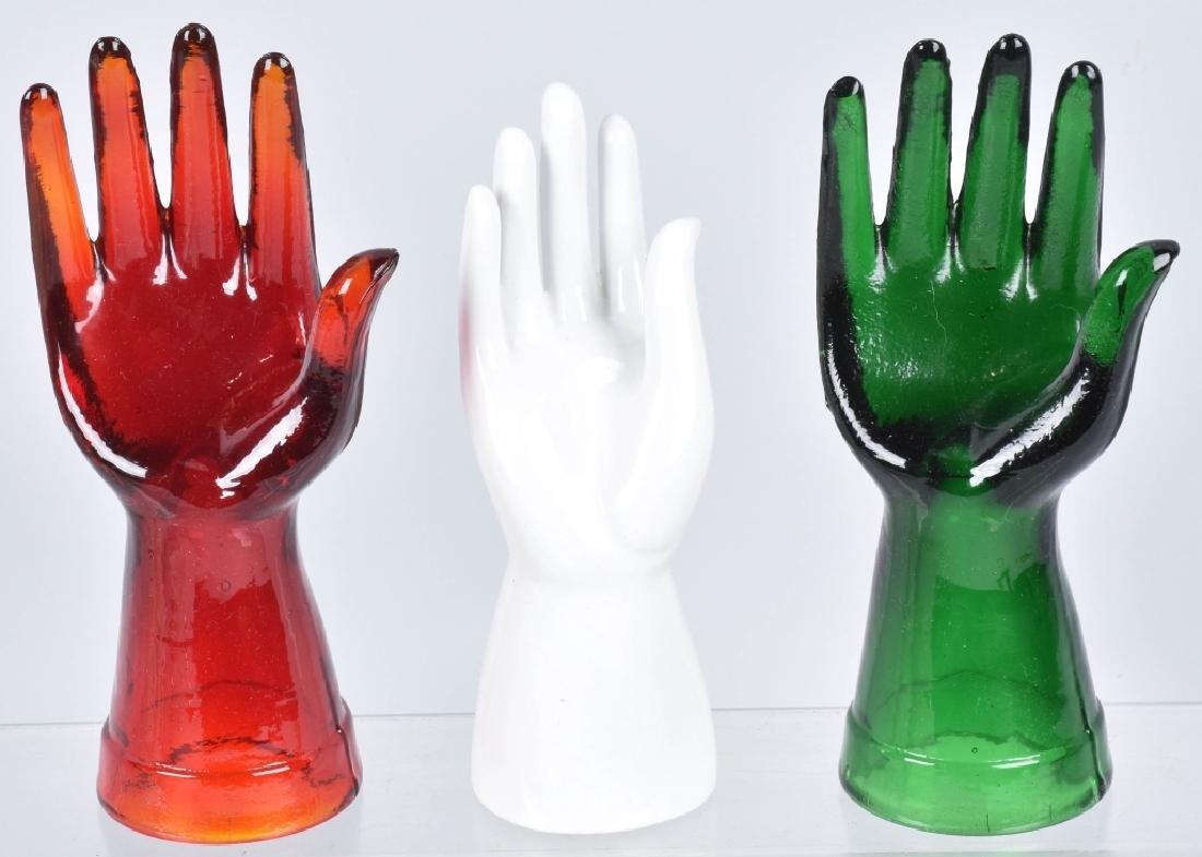 10- VINTAGE CERAMIC & GLASS HAND JEWELRY HOLDERS - 3