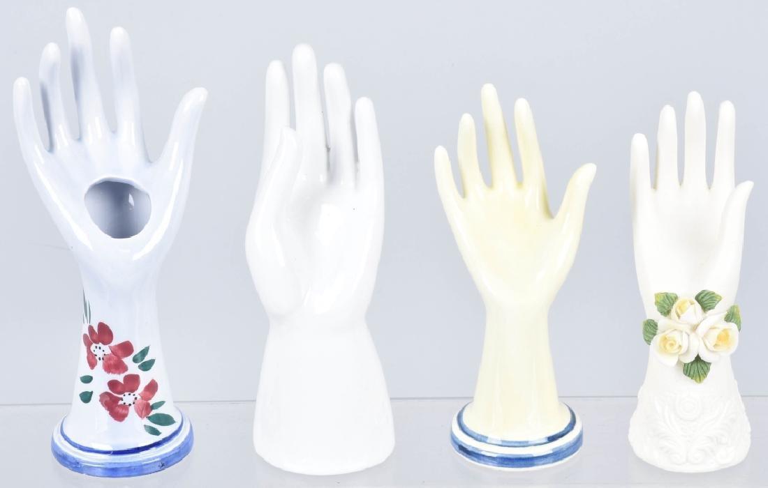 10- VINTAGE CERAMIC & GLASS HAND JEWELRY HOLDERS - 4
