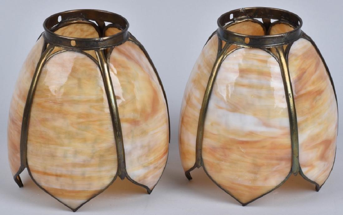 2-VINTAGE SLAG GLASS LAMP SHADES, MATCHED PAIR