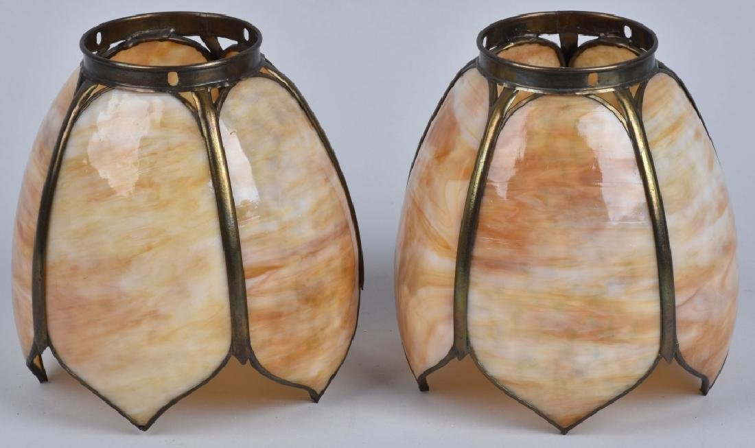 2-VINTAGE SLAG GLASS LAMP SHADES, MATCHED PAIR - 2